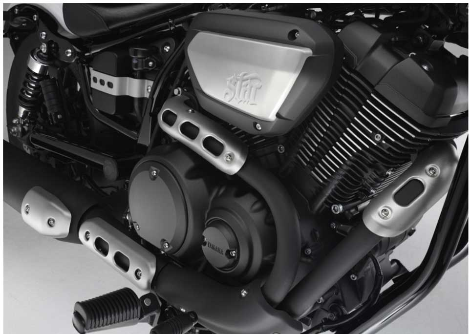 The 60º V-twin 942cc air-cooled engine, along with a pent-roof shaped combustion chamber and 9.0:1 compression ratio produces excellent power and superior low-end torque.