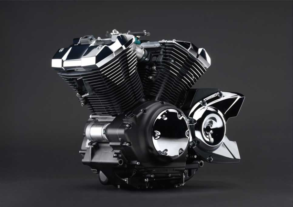 The 942cc (57.5 cu. in) engine is an aircooled SOHC 60° V twin. With four valves per head, a pent-roof shaped combustion chamber, and 9.0:1 compression ratio, this engine has been carefully designed to produce excellent power characteristics – and best-in-class acceleration.