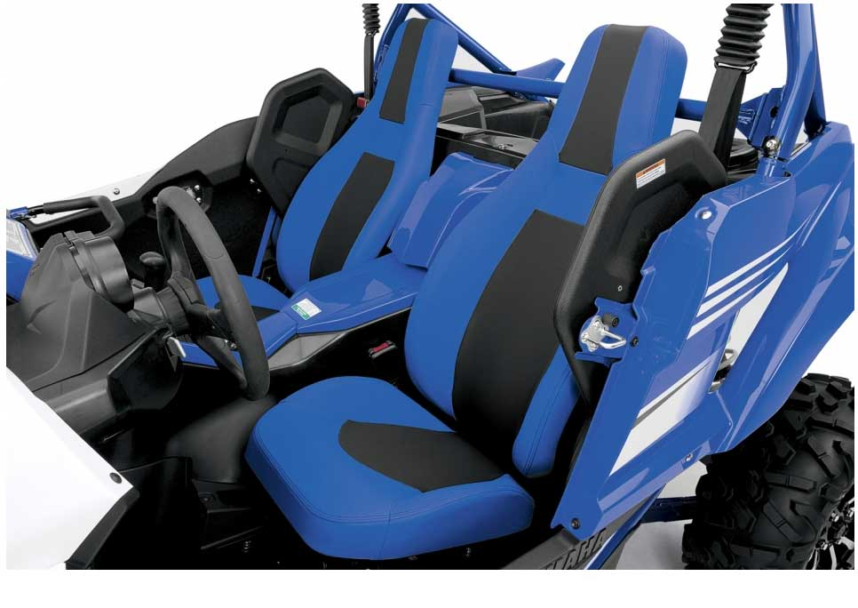 The ergonomics of the YXZ1000R are all about enhancing the driver's comfort and control. With its plush high-back seats and integral shoulder bolsters, the fighter pilot style cockpit features well designed controls and instruments that enable the driver to concentrate fully on the trail in front of them.