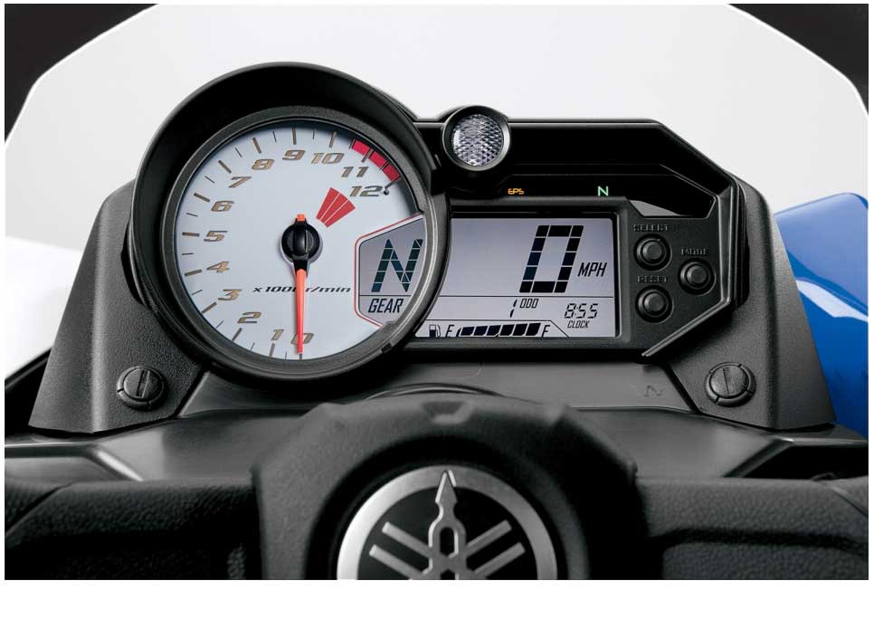 Instruments reflect Yamaha supersports motorcycles and mix analogue speedo with digital tacho.
